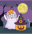 halloween ghost cartoons vector image