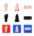 human and part icon set of vector image