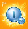 i iodum mineral blue pill icon vitamin vector image vector image