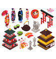 japan isometric icon set vector image vector image