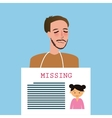 man holding sign of missing children kids vector image