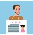 man holding sign of missing children kids vector image vector image