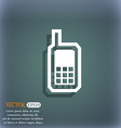 Mobile phone icon symbol on the blue-green vector image