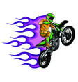 motorbike cross stunt flaming vector image