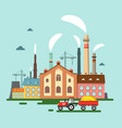 old factory with chimney smoke retro flat design vector image