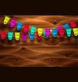 realistic bunting flag on wooden background vector image vector image