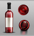 red wine in glass bottle front top and bottom view vector image