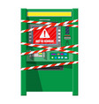 robbed atm with warning ribbons vector image vector image