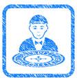 roulette croupier framed stamp vector image