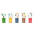 set garbage bins for recycling different types vector image