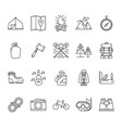 set hiking and camping icons vector image