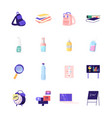 set icons student rucksack books and school vector image