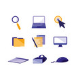 set icons technology isolated icon vector image vector image