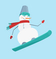 snowman with a snowboard wearing a bright red vector image