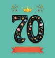 sparkling floral number seventy with golden crown vector image vector image