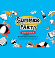 summer party with doodle icon and design on blue vector image vector image