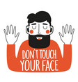 with bearded man in red sweater dont touch your vector image vector image