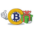 With gift bitcoin gold character cartoon