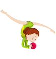 Woma doing gymnastics with red ball vector image vector image