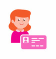 woman with identity card cartoon flat vector image vector image