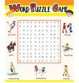 Word puzzle game template for many sports vector image