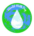 world milk day white drop of milk earth planet vector image vector image