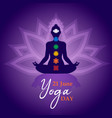 yoga day meditation card person in lotus pose vector image vector image