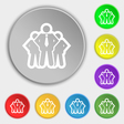 business team icon sign Symbol on eight flat vector image