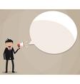 Businessman holding megaphone speech bubble vector image