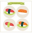 Flat Sushi Set Circle Icons vector image