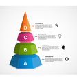 3d pyramid options infographics template vector image