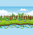 a summer landscape with flowers and stones vector image vector image