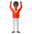 Athlete with medal and hands raised vector image vector image