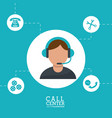 call center man operator wearing headphone support vector image vector image