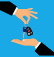 car keys with men hands vector image vector image