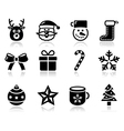 Christmas black icons with shadow set - santa vector image vector image