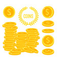 coins stacks money gold cash pile vector image