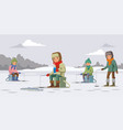 colorful winter fishing concept vector image vector image