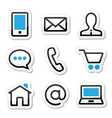 Contact web stroke icons set vector image vector image
