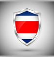 costa rica flag on metal shiny shield collection vector image
