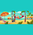 couple resting on tropical resort cartoon vector image vector image