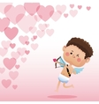 cupid valentine day shooting bow hearts background vector image