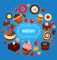 dessert menu cake donut food sweet strawberry vector image