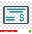 Dollar Cheque Icon vector image vector image