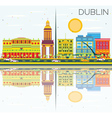 Dublin Skyline with Color Buildings