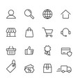 e-commerce online shopping line black 16 icons set vector image vector image