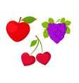 fruits set fruits as hearts vector image