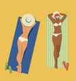 girls sunbathing on the beach vector image