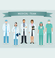 group of doctors and nurses standing together vector image vector image
