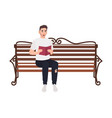 guy dressed in casual clothes sitting on street vector image vector image